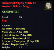 Advanced Sage's Study of Ancient K'Lorn Magic