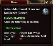 Astral Adornment of Arcane Resilience (Lesser)