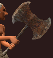 Imbued Iron Double Headed Axe (Equipped)