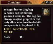 Meager harvesting bag