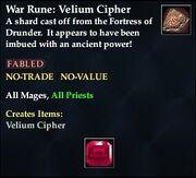 War Rune Velium Cipher