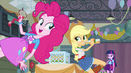 Applejack, Pinkie, and Twilight in the gym EG