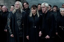 Draco, Lucius y Narcissa en la Batalla de Hogwarts