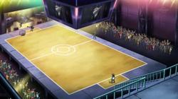 Campo de batalla del Gimnasio de Hormigón en el anime