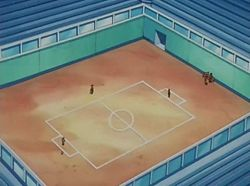 Campo de batalla del Gimnasio de Trigal en el anime