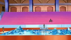 Campo de batalla del Gimnasio de Puntaneva en el anime