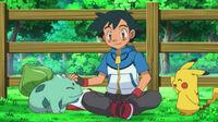 EP804 Bulbasaur junto a Ash y Pikachu