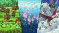 P14 Versión Blanca Pokémon en el agua, tierra, y cielo.png