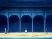 Campo de batalla del Gimnasio de Verde en el anime