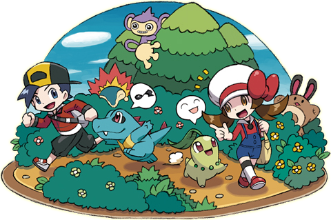 Archivo:Ilustración mostrando como los Pokémon seguirán a los personajes en HGSS.png