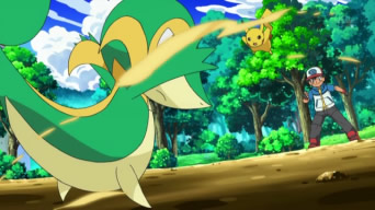 Archivo:EP661 Snivy vs Pikachu.jpg