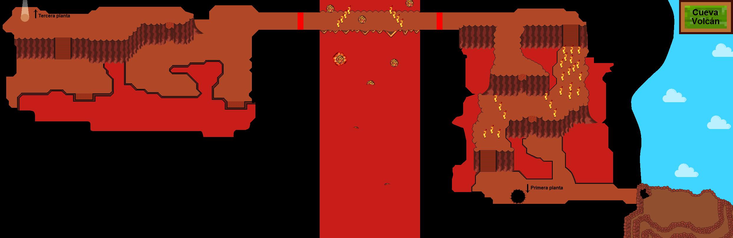 Plano de la segunda planta de la Cueva Volcán.