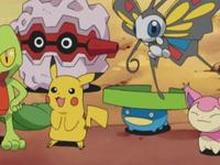 Archivo:EP325 Pikachu, Lotad, Skitty, Beautifly, Treecko y Forretress.png