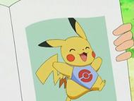 EP539 Pikachu con un modelo en la revista Pokéchic