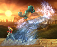 Squirtle usando cascada en Super Smash Bros. Brawl