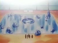 Campo de batalla del Gimnasio de Caoba en el anime