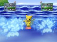Pikachu usando surf en pokémon stadium 2