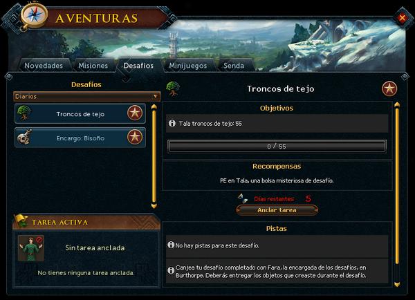 """Interfaz """"Desafíos"""" de Aventuras."""