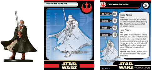 A Star Wars Miniatures stat card.