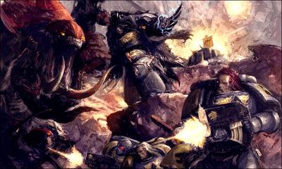 Guardia del Lobo Exterminador y guerreros vs Tiránidos.jpg