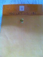 Back flap of envelope