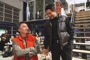 "Yuen with Jet Li on the set of ""WAR"""