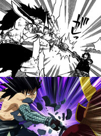 Gajeel grabs sword, manga anime difference