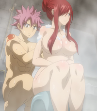Natsu washing Erza's back