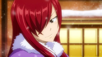 Erza sees Gray with Juvia's scarf