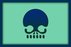 Blue Skull Banner