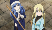 Lucy and Juvia cleaning up