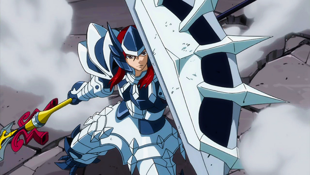 File:Erza using adamantine and giant's spear to defeat monster.png