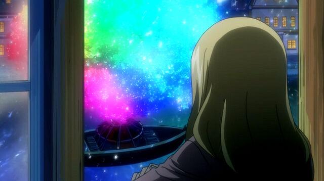 File:Lucy looking at Rainbow Sakura.jpg