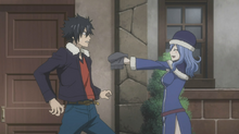 Juvia Presents Her Knitted Scarf to Gray