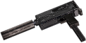 Rheinmetall 9mm machine pistol silencer and extended magazine mods hand