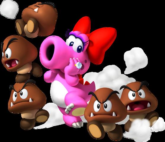 File:Birdo and Goombas - Mario Party 9.png