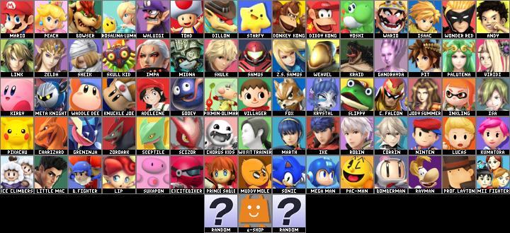 Super Smash Bros. Golden Eclipse Default (2) Roster