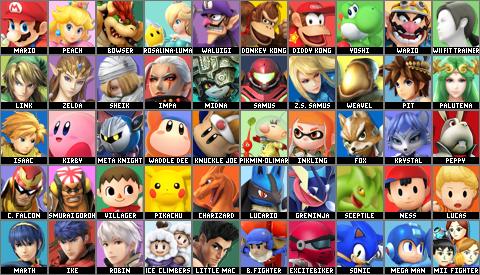 Super Smash Bros. Violet Sunset Default Roster