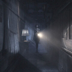 Image of Ruka exploring Rougetsu Hall.