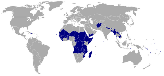 Least Developed Countries map - 2006