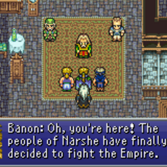 Banon informing the party that Narshe will join the war.