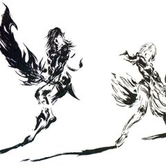 Yoshitaka Amano artwork of Caius and Lightning for the game's logo.