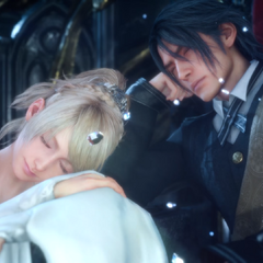 Luna and Noctis sleeping on the throne.