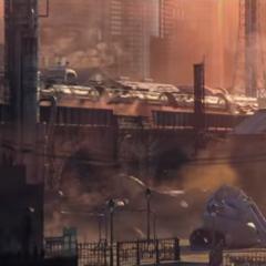 Train in the <i>Final Fantasy VII</i> Remake announcement trailer.