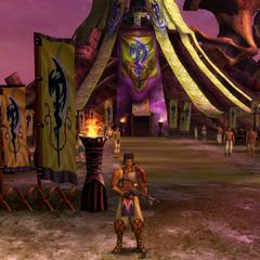 Maroda guarding the Youth League Headquarters in <i>Final Fantasy X-2</i>.