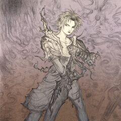 Tidus holding the Brotherhood in Yoshitaka Amano's artwork
