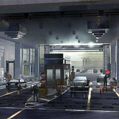 Concept art of a checkpoint in Insomnia.