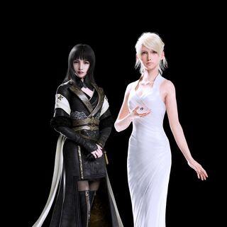 Full-body CG renders of Gentiana (left) and Lunafreya Nox Fleuret (right).