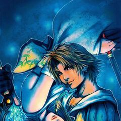 Promotional artwork by Tetsuya Nomura of Yuna and Tidus.