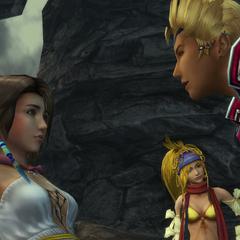 Gippal interviews Yuna for a digging job.